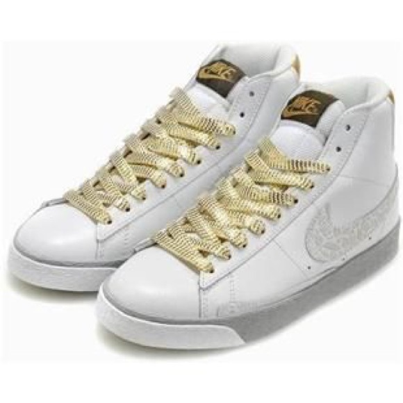 official store shopping great look Nike Blazer High Tops Gold/White Croc